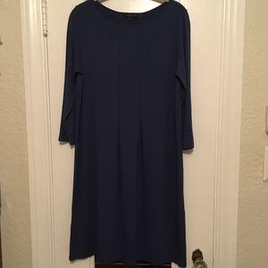 J. Jill Wearever Blue Long Sleeve Dress NWT
